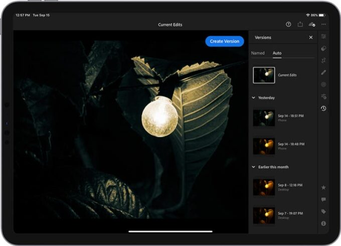 Adobe Lightroom Mobile - Auto-Versions