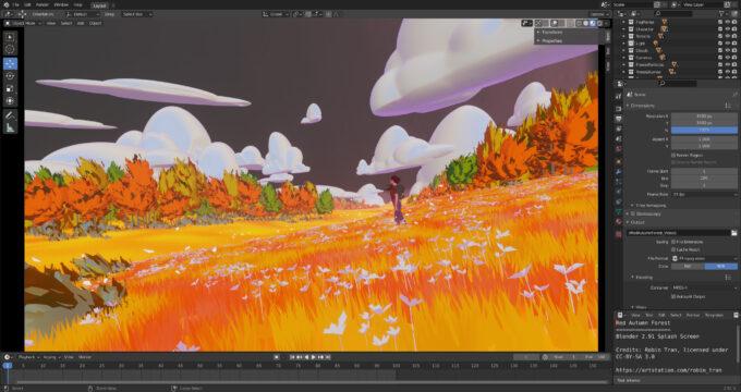 Blender 2.91 - Red Autumn Forest