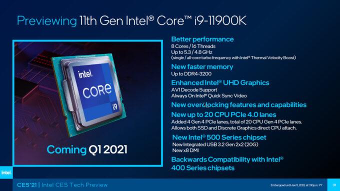 Intel Core i9-11900K Tech Specs