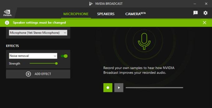 NVIDIA Broadcast User Interface