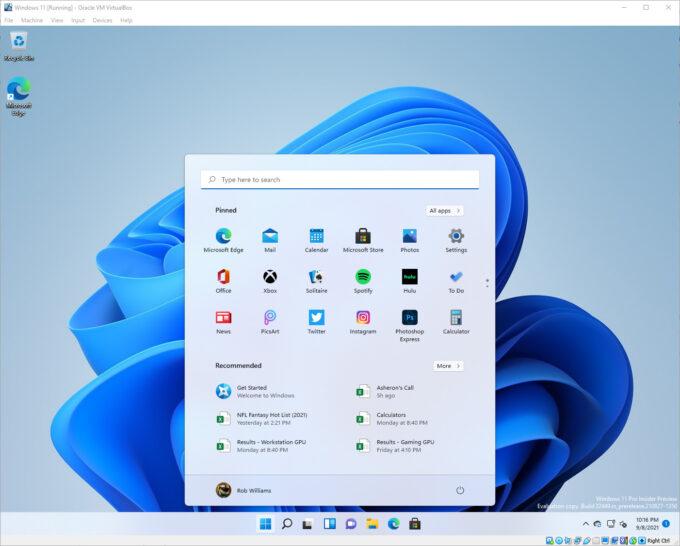 Oracle VirtualBox - Windows 11 Freshly Installed