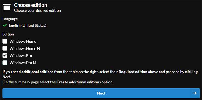 UUP dump Windows Edition Selection