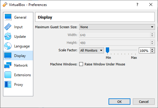 VirtualBox - Setting Resolution Allowance