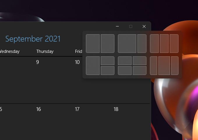 Windows 11 - Snap Options