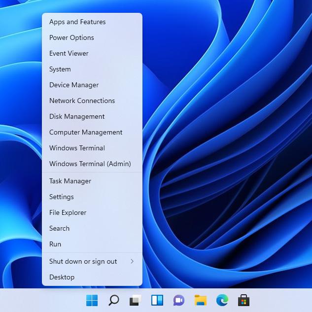 Windows 11 - Taskbar Right-click Options
