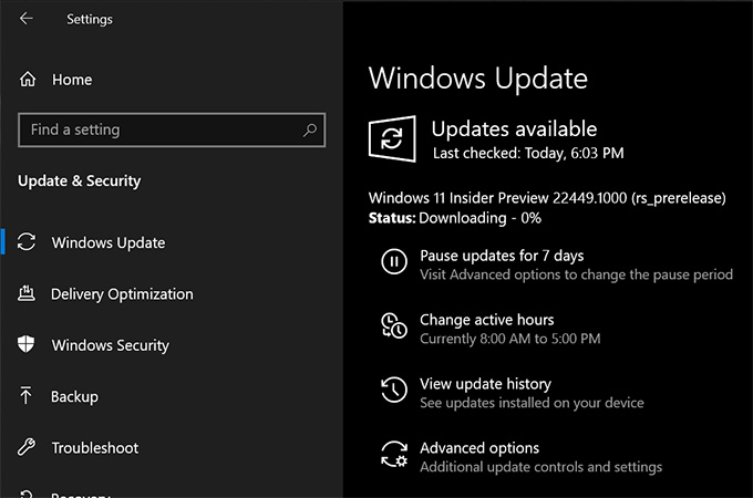 Windows Insider Preview - Windows Update Upgrade