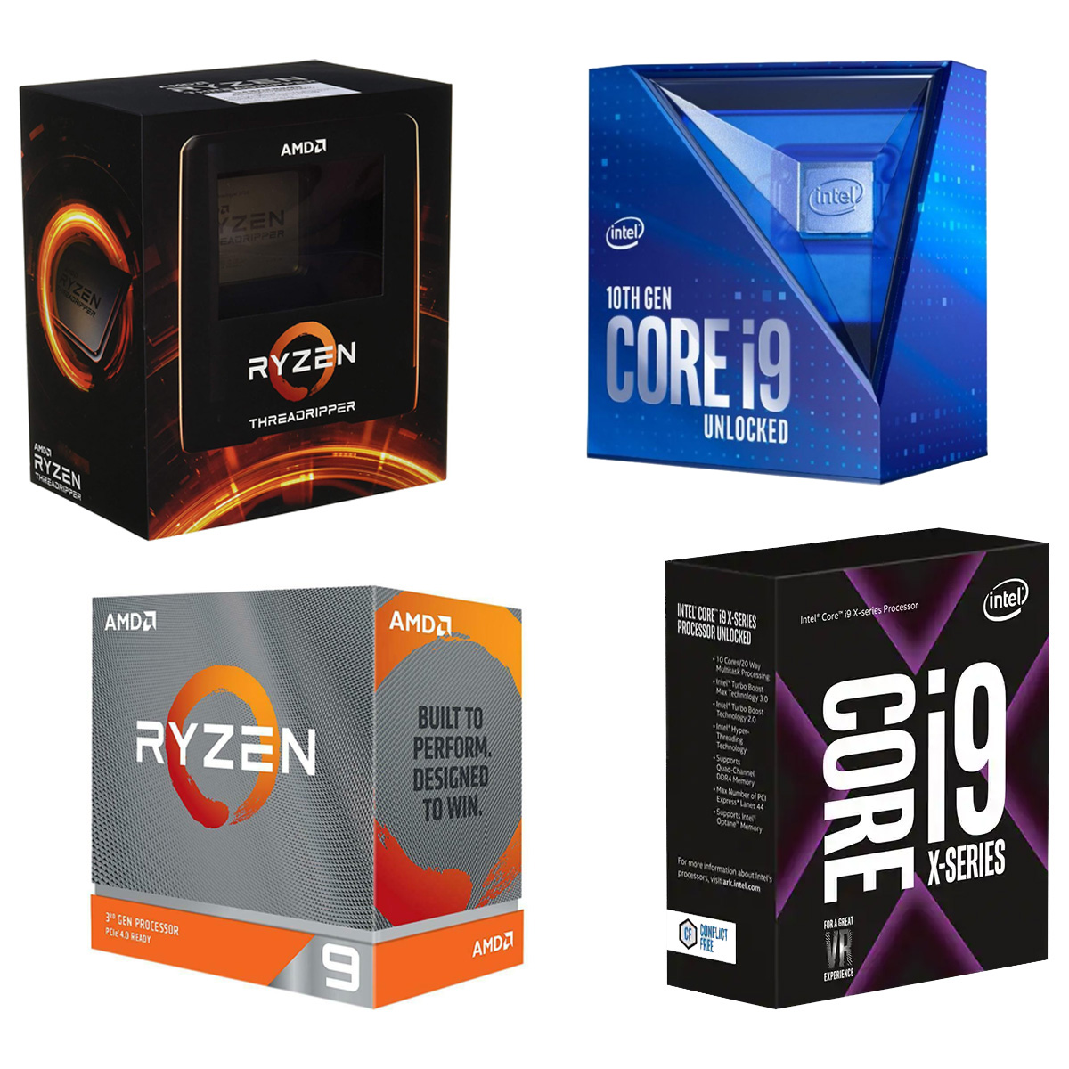AMD Ryzen and Intel Core Product Packaging